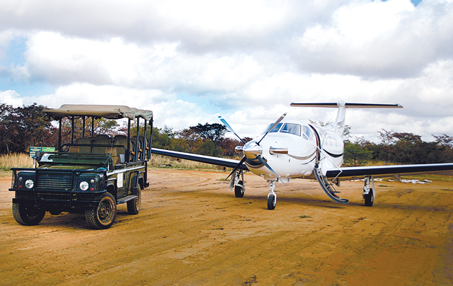 PC-12 & a safari jeep